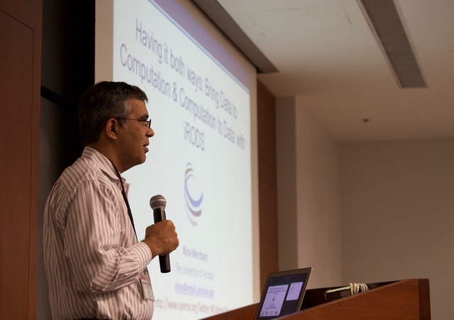 Nirav Merchant, the principal investigator for the CyVerse project at the University of Arizona, talks about the CyVerse Discovery Environment at the iRODS User Group meeting, held June 8 and 9 in Chapel Hill, NC.