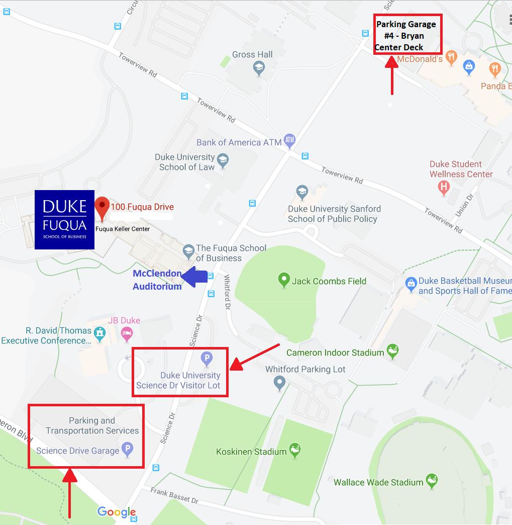 Parking map near Fuqua School of Business at Duke University